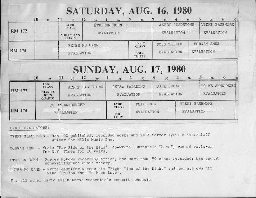 Hand cut and pasted version of Schedule for Songwriters Expo 1980 showing names of instructors and lyric evaluators with short bios