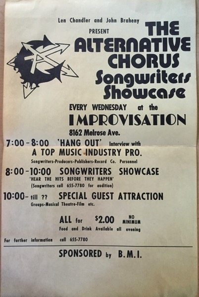 Archive Highlight: Poster - Len Chandler and John Braheny present The Alternative Chorus Songwriters Showcase - Every Wednesday the Improvisation