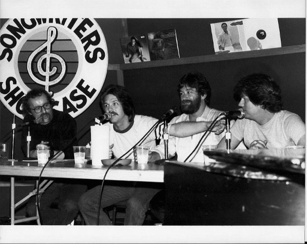 BW Photo of (L-R) John Braheny, Jay Graydon, Bill Champlin and David Foster, Producer, of the band Chicago at LA Songwriters Showcase Circa early 1980's