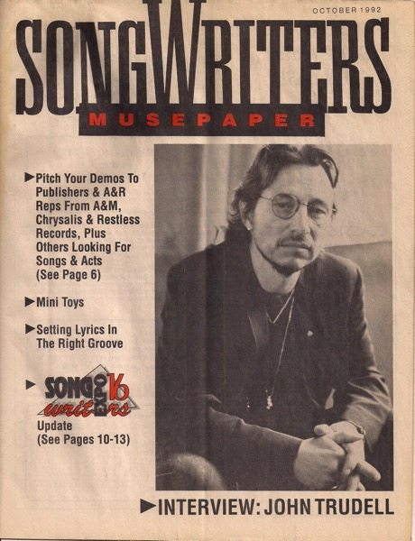 Songwriters Musepaper - Volume 7 Issue 10 - October 1992 - Cover: Interview: John Trudell