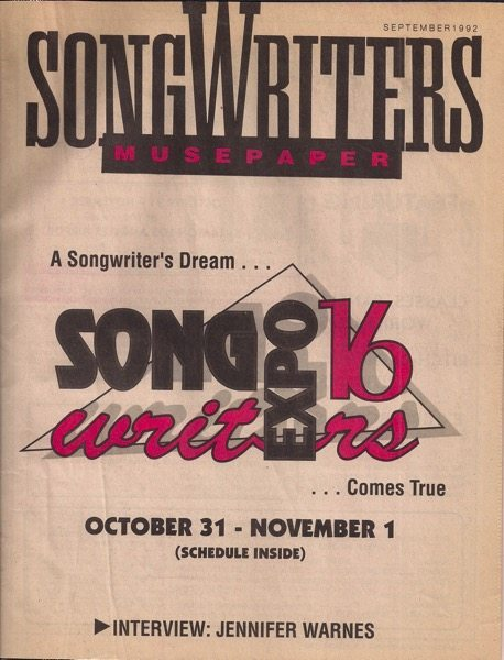 Songwriters Musepaper - Volume 7 Issue 9 -  September 1992 - Songwriters Expo 16 - Interview: Jennifer Warnes
