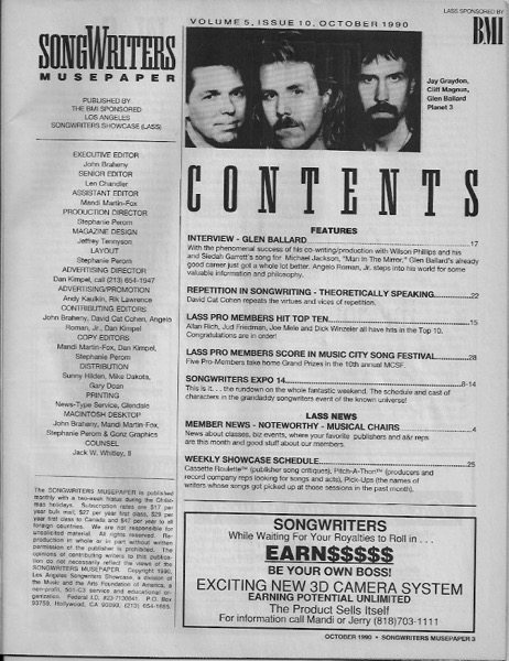Songwriter Musepaper - Volume 5 Issue 10 - October 1990 - Songwriters Expo 14 - Interview: Glen Ballard