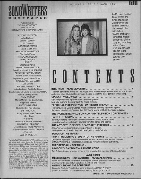 Songwriters Musepaper - Volume 6 Issue 3 - March 1991 - Interview: Alan Silvestri