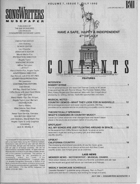 Songwriters Musepaper - Volume 7 Issue 7 - July 1992 - Interview: Robert Byrne