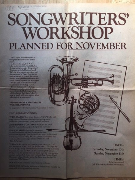 Songwriters Workshop Poster/Flyer, Honolulu, Hawaii, 1984 (2 sides)