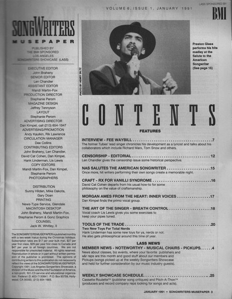 Songwriters Musepaper - Volume 6 Issue 1 - January 1991 - Interview: Fee Waybill