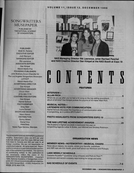 Songwriters Musepaper - Volume 11 Issue 12 December 1996 - Interview: Allan Rich