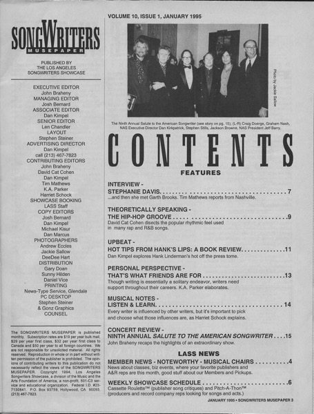 Songwriters Musepaper - Volume 10 Issue 1 - January 1995 - Interview: Stephanie Davis