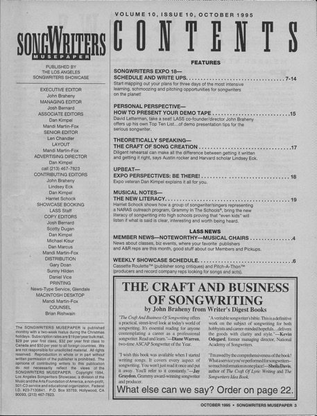 Songwriters Musepaper - Volume 10 Issue 10 - October 1995 - Songwriters Expo 18