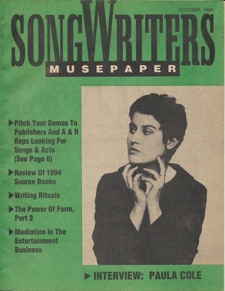 Songwriters Musepaper - Volume 9 Issue 10 - October 1994 - Interview: Paula Cole