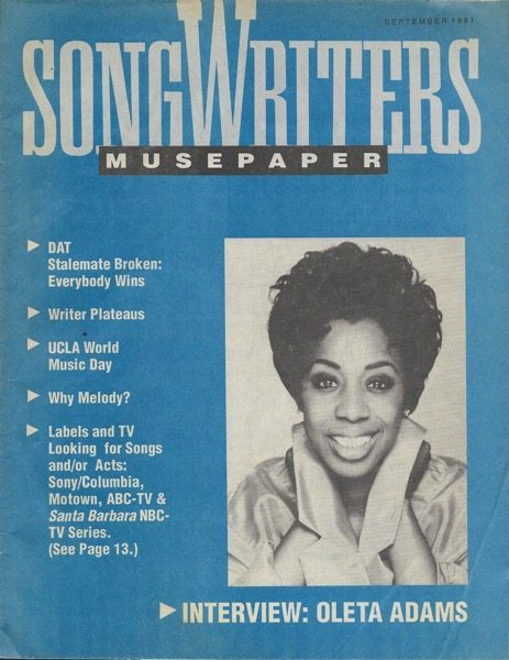 Songwriters Musepaper - Volume 6 Issue 9 - September 1991 - Interview: Oleta Adams