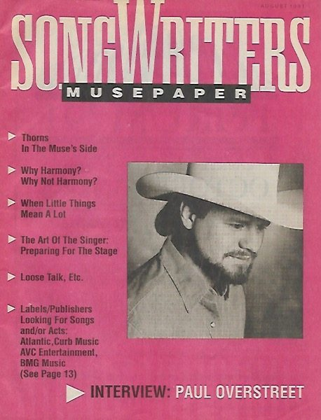 Songwriters Musepaper - Voume 6 Issue 8 - August 1991 - Interview: Paul Overstreet