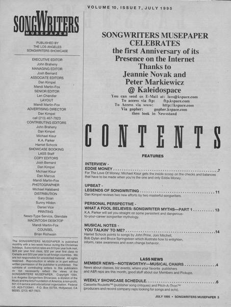 Songwriters Musepaper - Volume 10 Issue 7 - July 1995 - Interview: Eddie Money