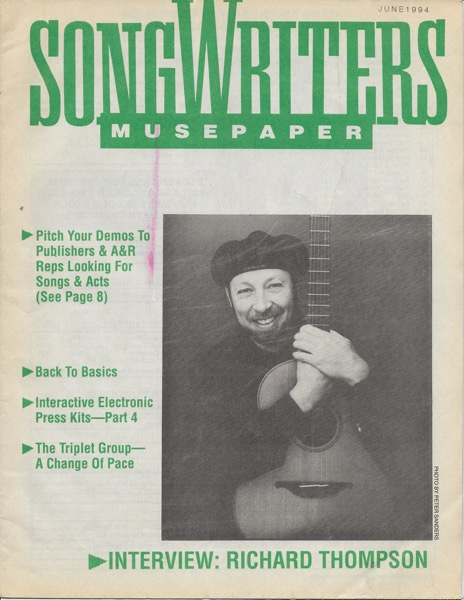 Songwriters Musepaper - Volume 9 Issue 6 - June 1994 - Interview: Richard Thompson