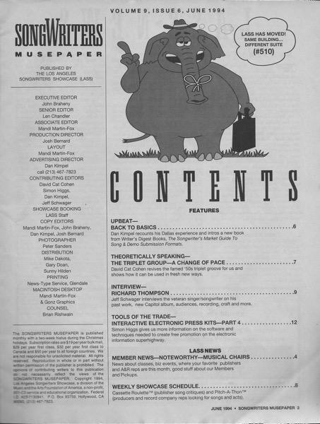 Songwriters Musepaper - Volume 9 Issue 6 - June 1994 - Interview: Richard Thompson