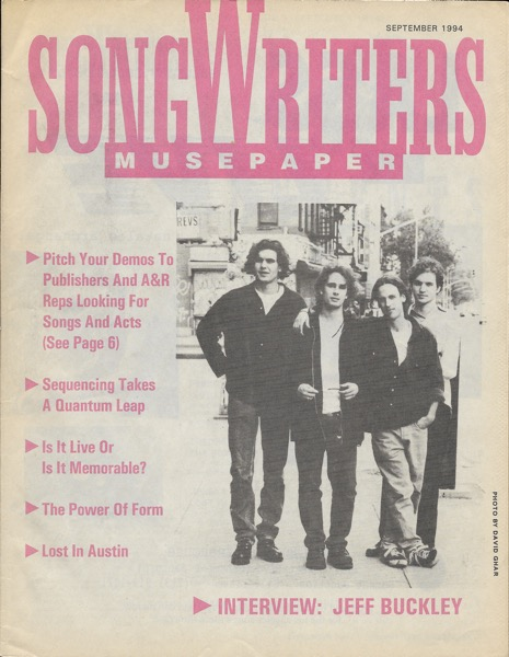 Songwriter Musepaper - Volume 9 Issue 9 - September 1994 - Interview: Jeff Buckley