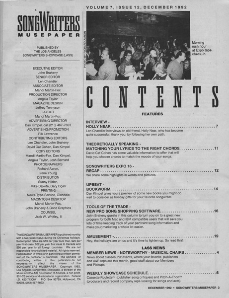 Songwriters Musepaper - Volume 7 Issue 12 - December 1992 - Interview: Holly Near