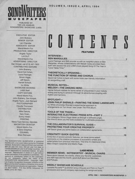 Songwriters Musepaper - Volume 9 Issue 4 - April 1994 - Interview: Ben Margulies