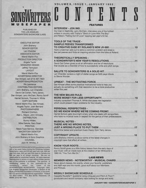 Songwriters Musepaper - Volume 8 Issue 1 - January 1993 - Interview: Jon Ims