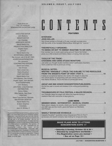Songwriters Musepaper - Volume 8 Issue 7 - July 1993 - Interview: John Keller