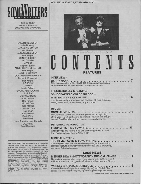 Songwriters Musepaper - Volume 10 Issue 2 - October 1995 - Interview: Barry Mann