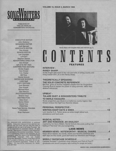 Songwriters Musepaper - Volume 10 Issue 3 - March 1995 - Interview: Randy Sharp