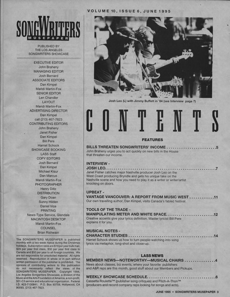 Songwriters Musepaper - Volume 10 Issue 6 - June 1995 - Interview: Josh Leo