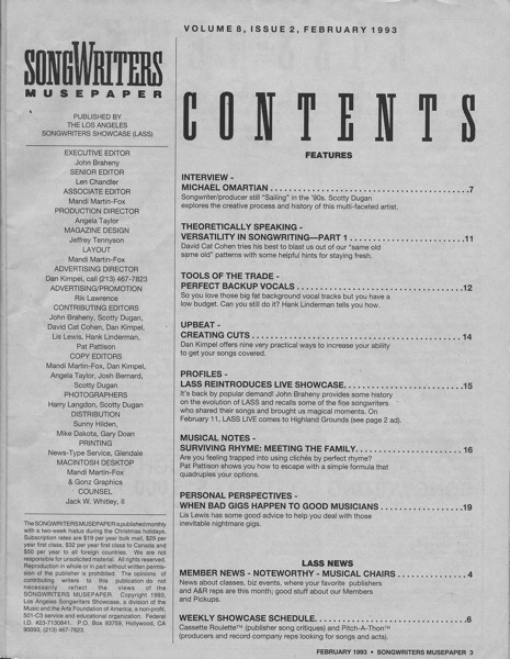 Songwriters Musepaper - Volume 8 Issue 2 - February 1993 - Interview: Michael Omartian