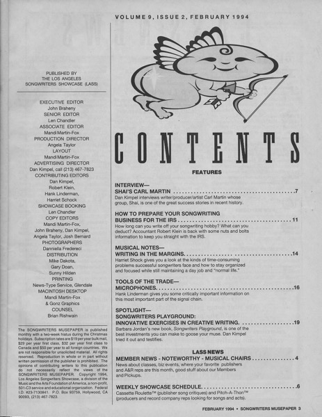 Songwriters Musepaper - Volume 9 Issue 2 - February 1994 - Interview: Shai's Carl Martin