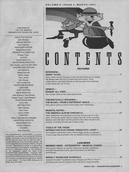 Songwriters Musepaper - Volume 9 Issue 3 - March 1994 - Interview: Jenny Yates
