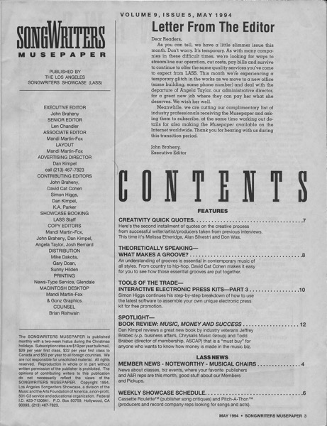 Songwriters Musepaper - Volume 9 Issue 5 - May 1994