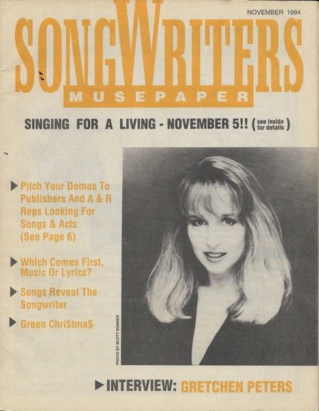 Songwriters Musepaper - Volume 9 Issue 11 - November 1994 - Interview: Gretchen Peters
