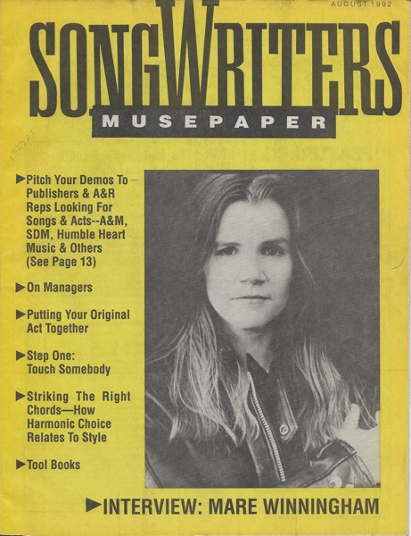Songwriters Museupaper - Volume 7 Issue 8 - August 1992 - Interview: Mare Winningham