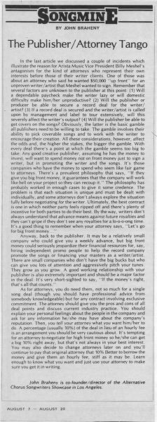 Songmine: The Publisher/Attorney Tango by John Braheny